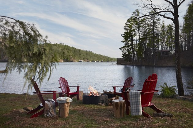 chairs by a lake