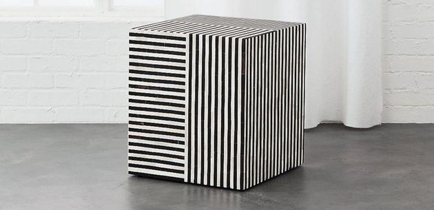 black and white striped table