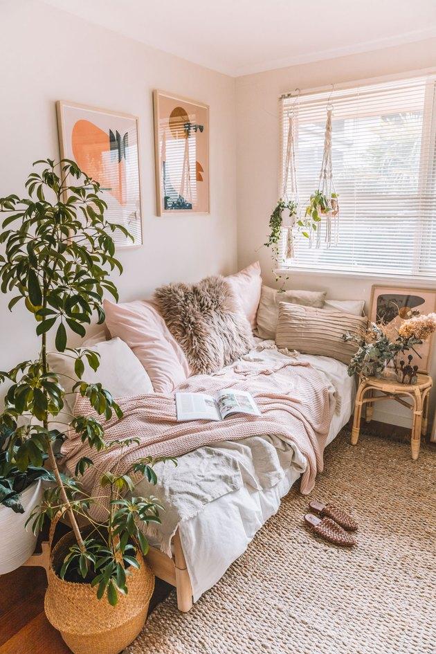bohemian IKEA bedroom idea for small space