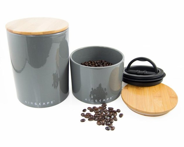 A gray coffee canister in two sizes