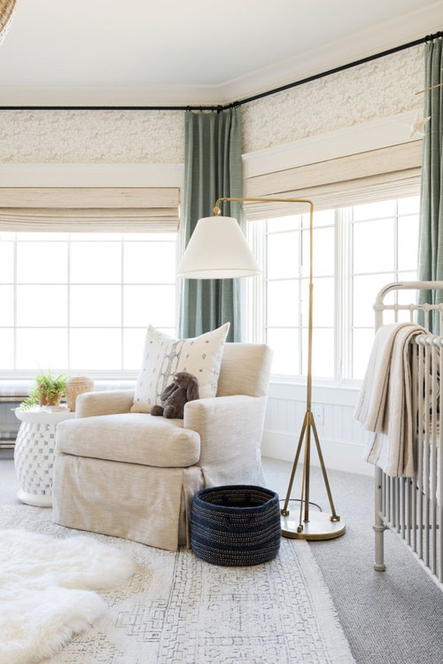 celadon colors window curtains in cream bedroom