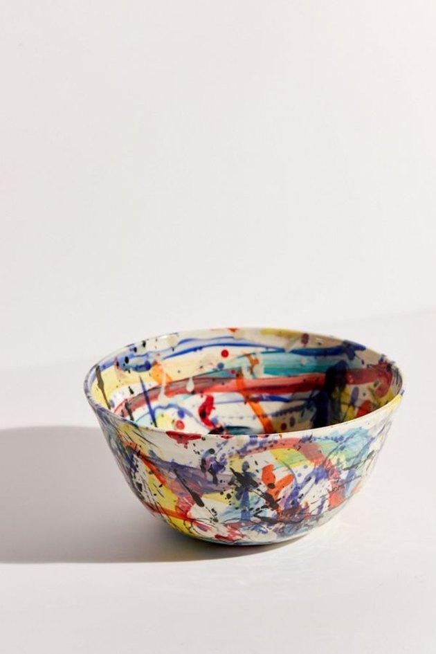paint splattered multicolored ceramic bowl