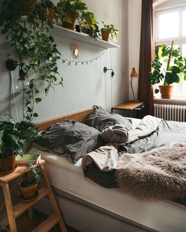 plant-themed bedroom idea with shelf of potted plants