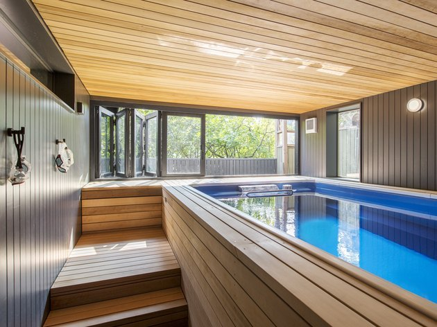 midcentury home with indoor pool