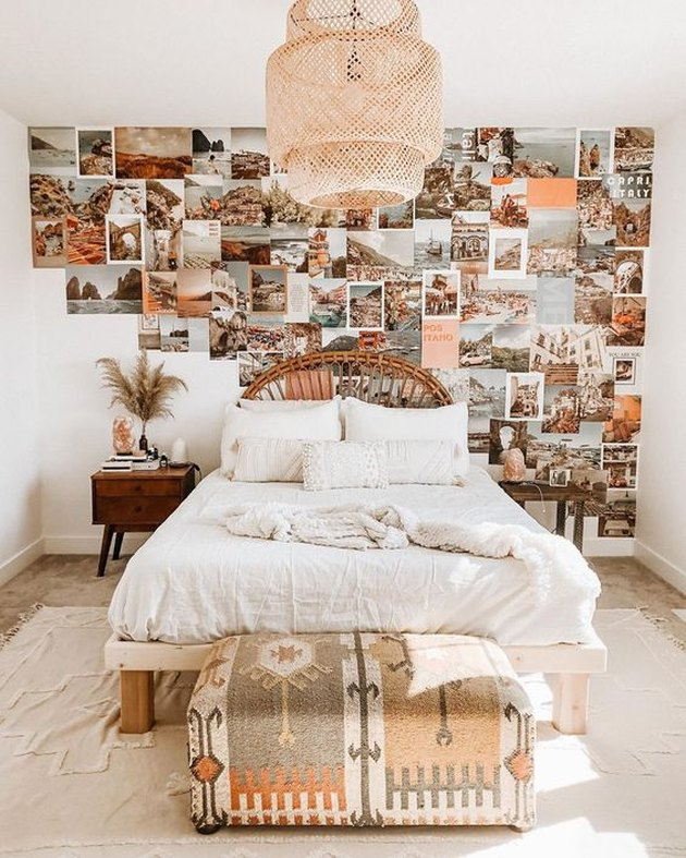 travel-inspired IKEA bedroom idea with woven bamboo pendant