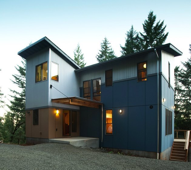 blue house with blue exterior window trime
