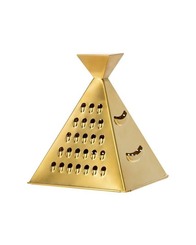 pyramid shaped cheese grater in gold finish