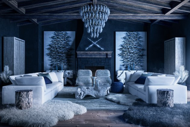 blue wintry living room