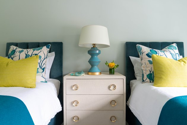 Blue and yellow bedroom with modern accents