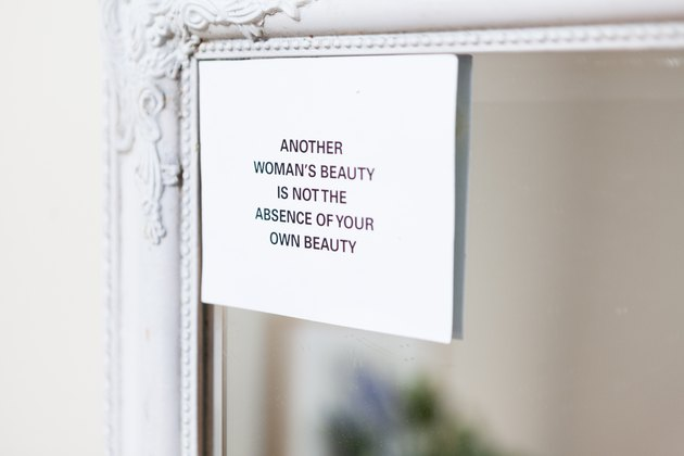 Printed text artwork on mirror