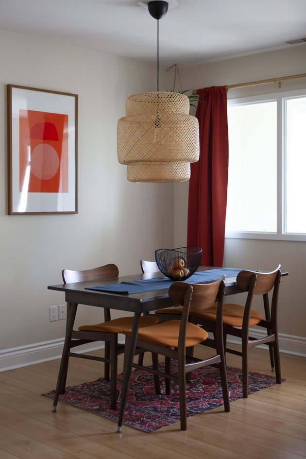 Midcentury dining table and IKEA pendant light