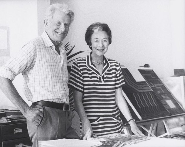 two figures in a studio, Robin and Lucienne Day