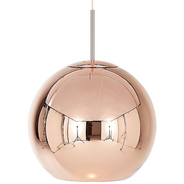 Large globe copper pendant light