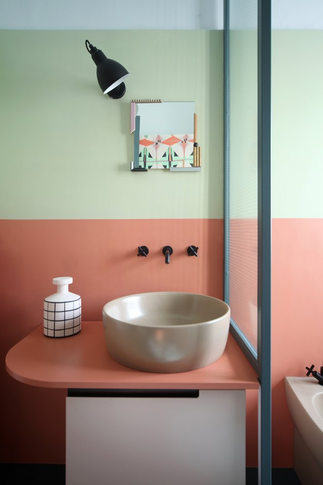 colorblocked bathroom