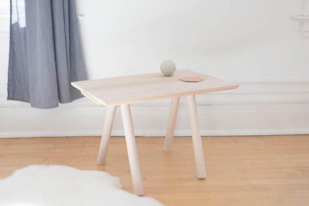 Minimal blonde wood rectangular end table