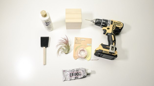 DIY wood block air plant tree materials