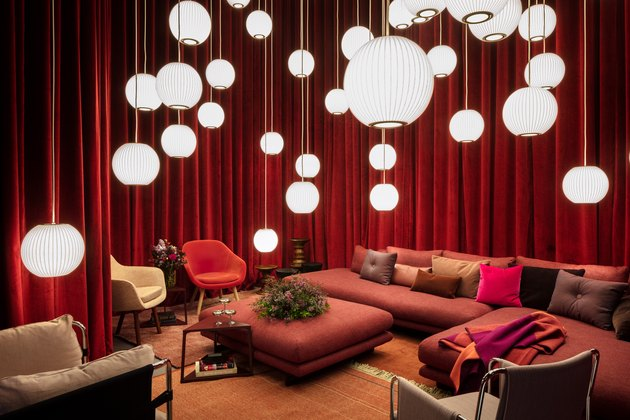 space with couches lamps and chairs