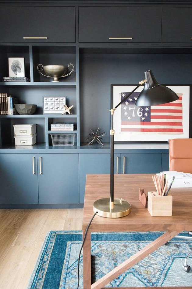 Fathers Day man cave idea with blue cabinets and wooden desk