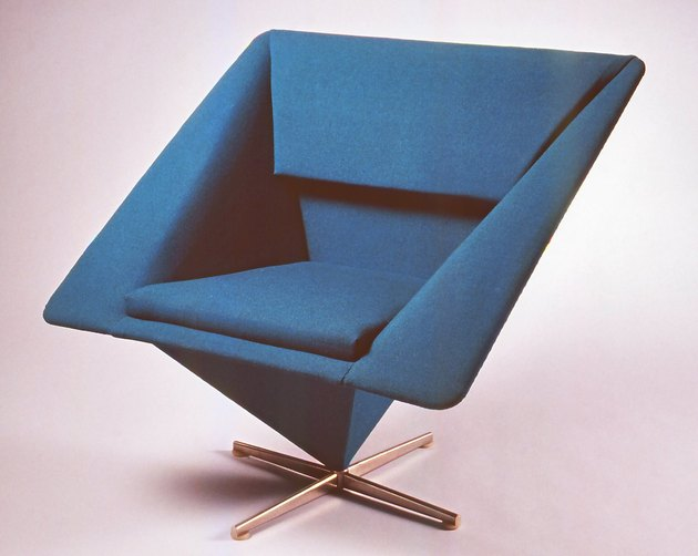 blue midcentury modern pyramid chair