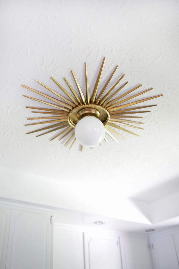 DIY sunburst medallion ceiling light fixture