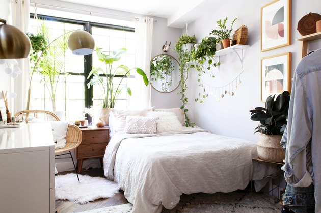 bohemian bedroom with hanging plants