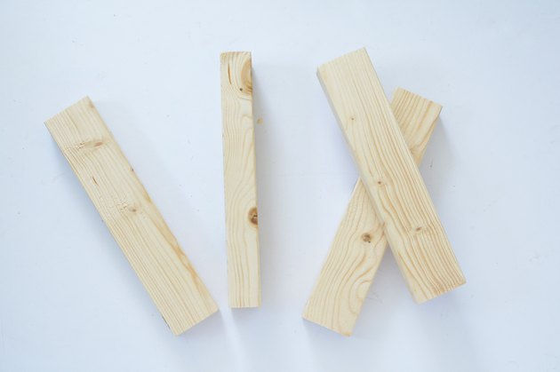 Four pieces of untreated wood