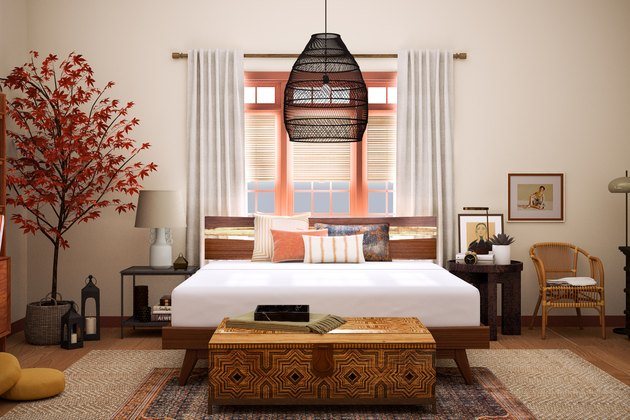 Bedroom with eclectic mix of decor items