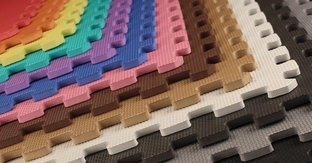 Interlocking EVA foam tiles in a range of colors