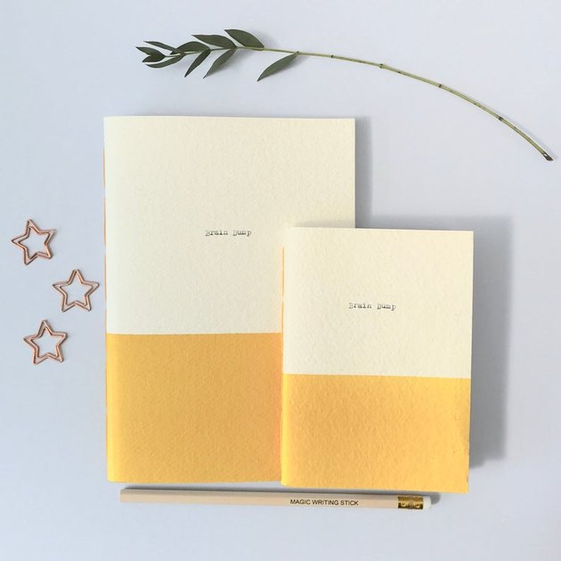 two notebooks with stars, pencil, and branch nearby