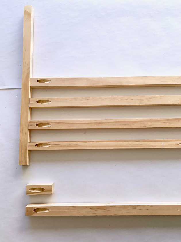 Wood dowels for modern towel rack DIY