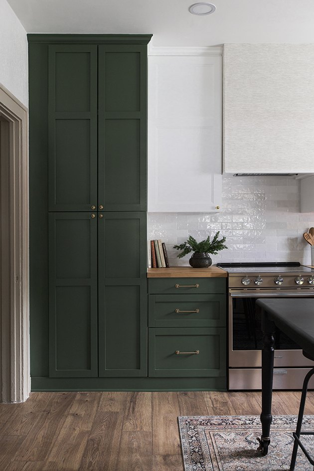 kitchen with green cabinets idea for minimalist decorating on a budget