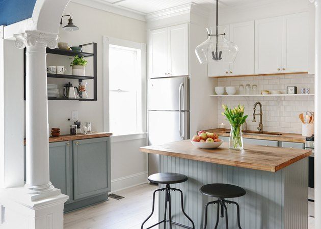 Gray and wooden beadboard traditional kitchen island