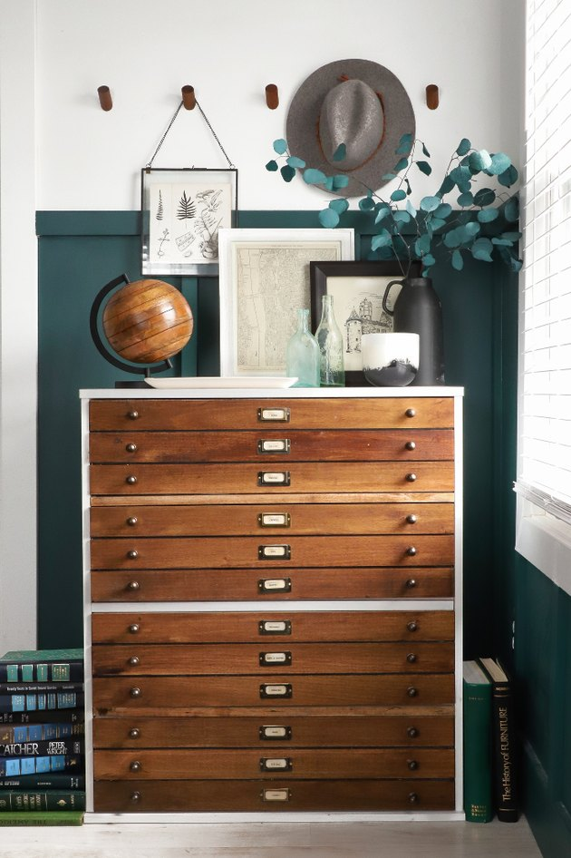 DIY home decor idea for your living room with vintage-inspired dresser
