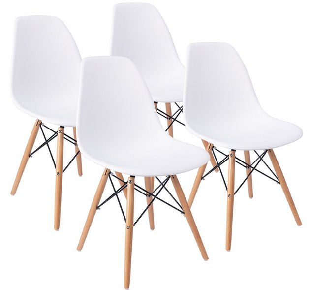 Four white plastic armless mid-century dining chairs with wooden legs