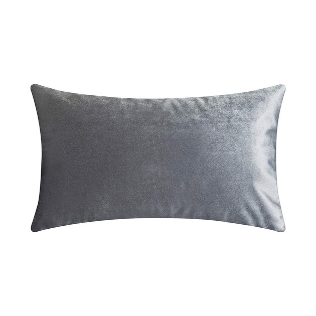 Gray velvet lumbar pillow
