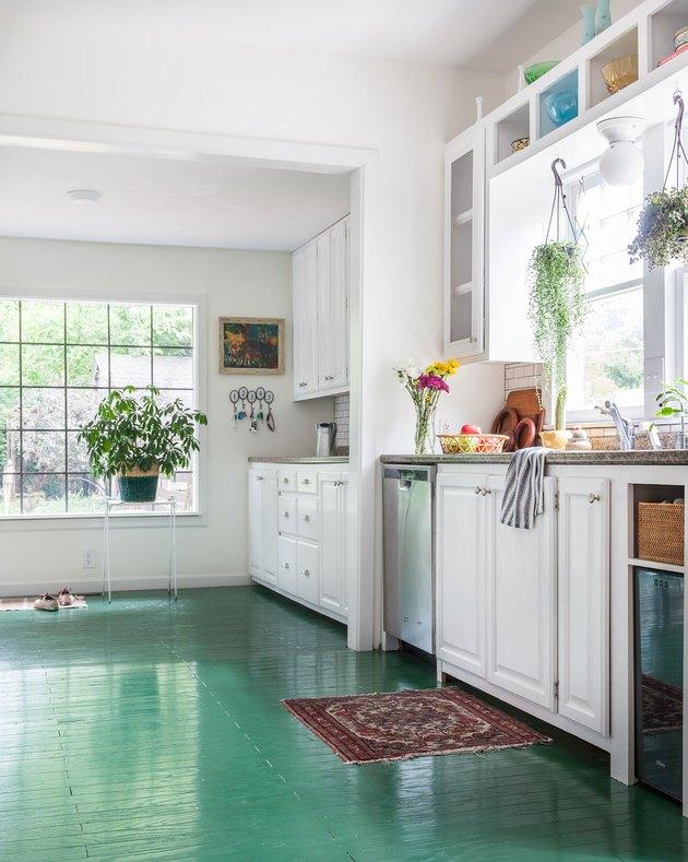 white kitchen with green kitchen floor paint