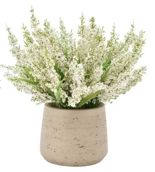 birch lane heather centerpiece in rustic pot