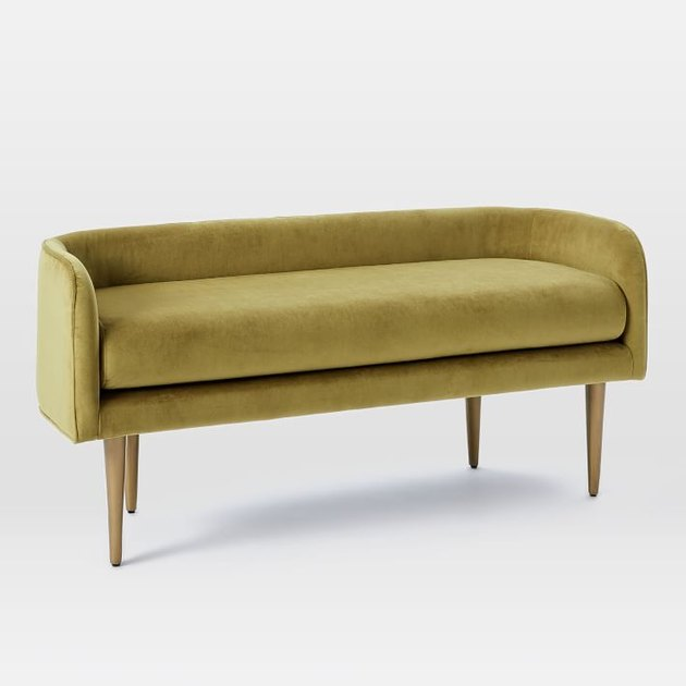 Gold velvet mid-century-inspired bench