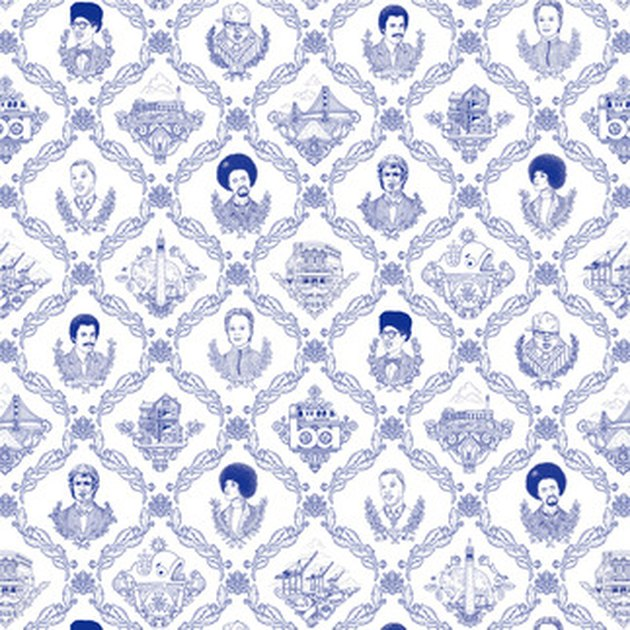Cobalt blue and white wallpaper featuring details of prominent San Francisco figures and places