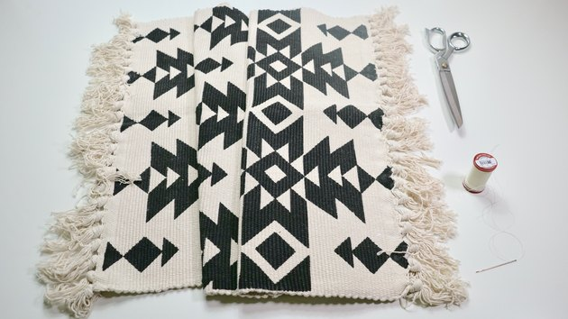 Materials for DIY Fringe Pillow Out of a Rug
