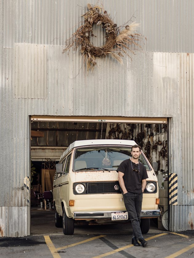 Florist Spencer Falls with his VW van