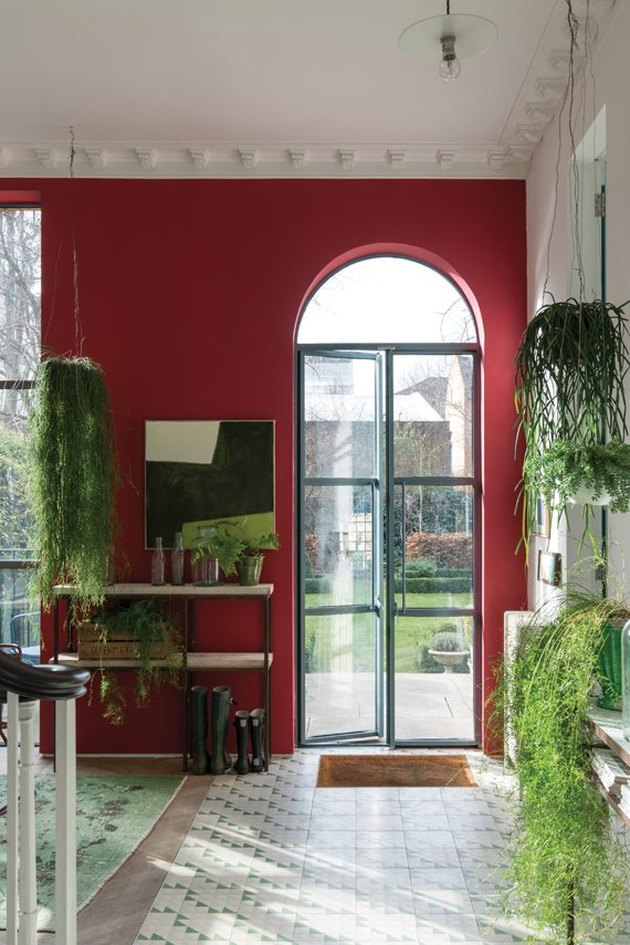 colors that go with red in a red and white entry with large glass door and trailing plants