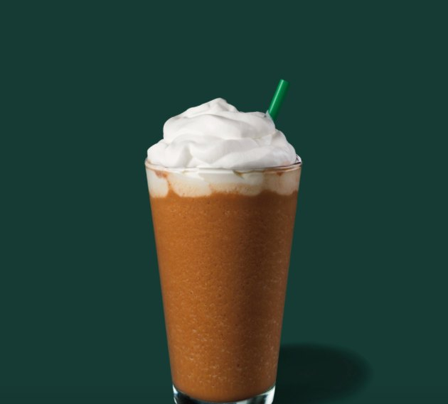 frappucino in a glass with green straw