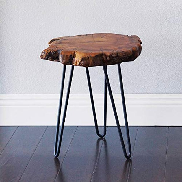Small wooden live edge end table with black metal legs