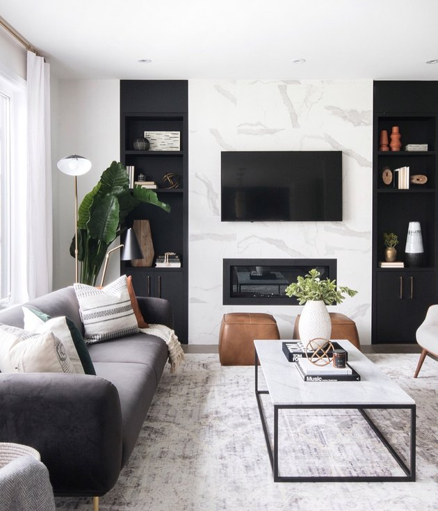 black-and-white living room idea
