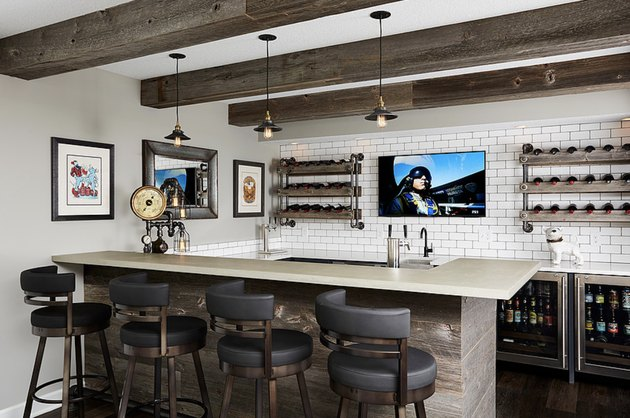 rustic bar ideas with wooden beams on ceiling