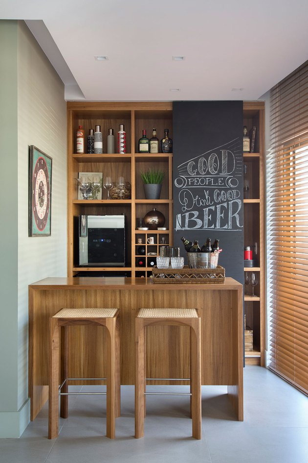 rustic bar ideas with chalkboard wall