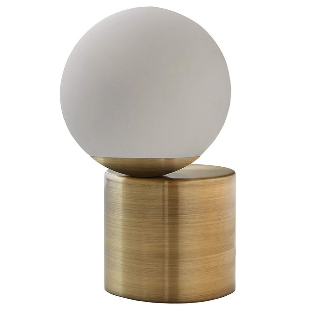 rivet glass ball metal table lamp