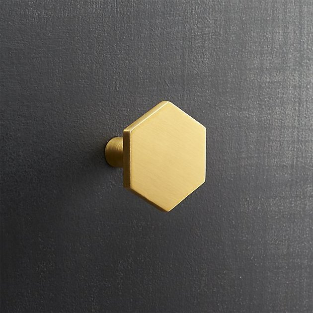 Brushed brass hexagonal knob