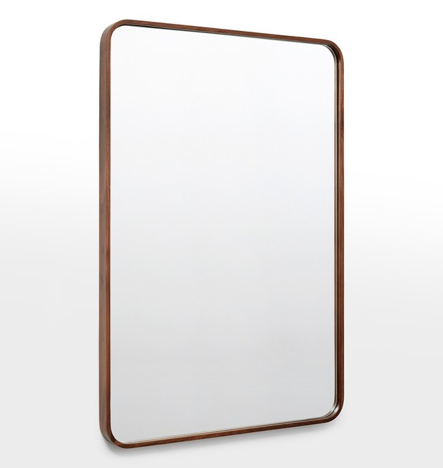 Rectangular mirror with rounded edges and thing walnut wood frame